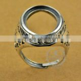 16*22.6mm 925 sterling silver antiqued silver vintage style oval bezel carve patterns ring base blank DIY findings 1223070