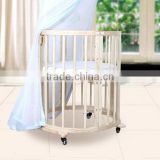 Solid wood sleigh baby crib / baby cot / baby bed with wider slats