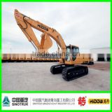 hydraulic excavator fitted with quick coupler and tilting bucket backhoe with breaker