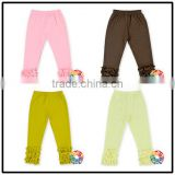 2016 Latest Design 100% Knitted Cotton Ruffle Pants Colorful Soft Kids Ruffle Pants Boutique Baby Icing Ruffle Pants