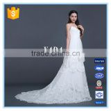 Spaghetti Strap Lace Sexy Low Back 5 Layers Ruffles Wedding Dress with Bridal Mantilla Veil