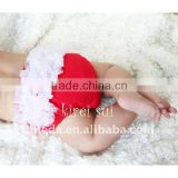 Baby Red & White Chiffon Ruffles Bloomer Panties