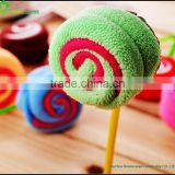 Factory customize microfiber lollipop shape towel cake lovely wholesale cake towel gift birthday cake towel lollipop christmas