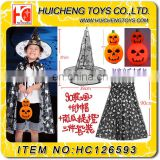 kids halloween costume set 3 pcs halloween decoration 90cm cloak hat led pumpkin lantern