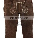 Authentic german bavarian lederhosen dark brown suede leather (Bavarian Clothing)