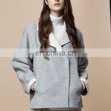 OEM Simple Casual Wollstoff m Wear Overcoat Light gray Lapel Collar Women Coat