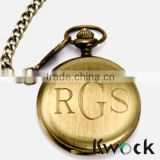 Mechanical Smooth Gold Tone Case Roman Numerals engraved letter Pocket Watch                                                                         Quality Choice