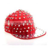 Daditong Gothic Hedgehog Punk Rock Studded Baseball Hip-hop Hat Spike Rivet Spiky Stud Cap Dance (Red&Silver)