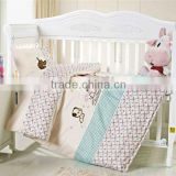 Embroider Dog Bedding Cotton Baby Comforter Set 200TC In Pink Color