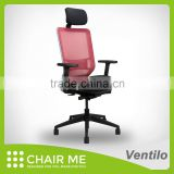White Backrest, Red Mesh, Black Seat Office Mesh Chair with Adjustable Armrest and 3D Headrest and Nylon Base