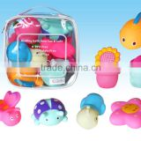 bath toys set, PVC bag packing. water squirter