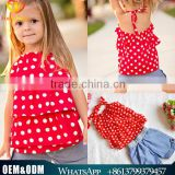 Wholesale Baby Children Clothing Fashion Style Baby Girl Red Chiffon Top With Denim elastic shorts