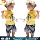 Latest Arrivl Summer Children Clothes Baby Boy Wearing Pure Cotton Octopus Printed Shirt +Strip Shorts Boy Yellow Suits Sets
