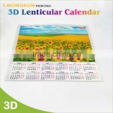 2016 Customized China wholesale cheap 3D lenticular printing 3D wall calendar                                                                         Quality Choice