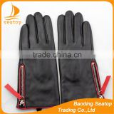 Ladies fashion sheepskin leather gloves with silver zipper and red belt the best sell Hot mother fashion gloves