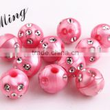 Pink Color Chunky Bling Beads ,Wholesales Acrylic Rhinestone Beads, 8mm to 16mm Acrylic Pearl Bling beads for Jewelry