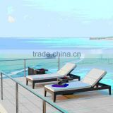 China outdoor furniture wicker aluminium furniture beach sun lounger with waterproof cushion
