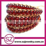 2013 Mulit Stone Brown Greek Leather Wrap Bracelet-BTB0237