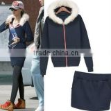 The new European and American women's fashion casual sports spring and thick fur collar hooded sweater set