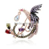 18K Rose Gold Plated and White Gold Plated Multi AAA Cz Micro Pave Setting Phoenix Bird Animal Brooches
