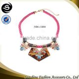 Retro vintage handmade braided rope bib necklace fashion Chinese knotted cord braided necklace