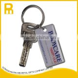 Wholesale Custom Promotional Personalised Silver color Blank Metal Keyrings with Ring