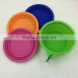 Pocket Foldable folding silicone pet bowl with Carabiner Clip