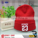 Red Wholesale Custom Leather Embroidery Patch Beanie,Knit Patch Beanie Hat
