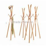 2016 new clothes and hat display eco-friendly beech wood clothes display racks cloth hanger stand wholesale