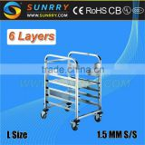 New Design 10 Layers Stainless Steel Bakery Trolley and Tray Rack Trolley