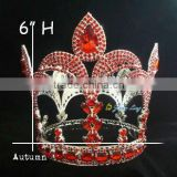 fashion red stone tiara full round large pageant crown