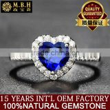 Factory wholesale Natural sapphire Royal Blue Ring Sri Lanka 18K Gold Heart