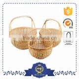 Nice Quality Custom Made Crafts Rattan Bamboo Gift Baskets With The Handle
