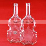 Wholesale hot guitar shape vodka bottles diamond beverage bottles 750ml franch brandy glass bottle