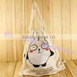 Custom cheap natural organic printed promotion backpack shoulder canvas cotton drawstring bag