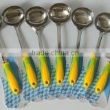 2016 canton fair kitchen utensils display stainless steel soup ladle with new corn handle