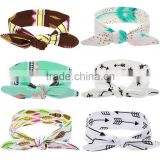 Baby Girls Bow Knot Floral DIY Headband Rabbit Ear Feather Arrow Print Head Wrap Headwear Hair Band Accessories 2016 New
