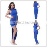 Unique design high neck thigh slit adult women full size sexy royal blue colour dress