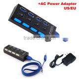 OEM Manufactory USB 3.0 4 Port USB Hub Driver with AC Power Adapter