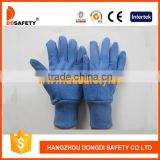 DDSAFETY 2017 Blue Cotton Gloves With Nini Dots On Palm Canvas Gloves With Blue Knit Wrist