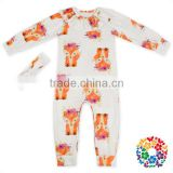 Kids Girls Fox Prints One Piece Jumpsuit With Long Pants Wholesale Baby Long Sleeve Romper Baby Jumpsuit With Headband Set