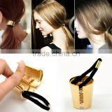 High Quality Accessories 1PC Gold Plated Alloy Circle Ring Hair Band Cuff Wrap Ponytail Holder