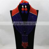 Red with Royal Blue African Crystal Beads Necklace Bracelet Nigerian Wedding Earrings Jewelry Sets