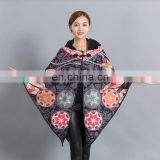 wholesale woman fashion bat sleeve poncho mixed pattern hood cape shawl trench coat