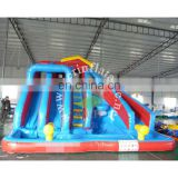 Hot kids inflatable water slide blue giant cheap inflatable slide outdoor double slide with pool for sale