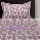 Hand Block Print Bed Sheet Set, Queen Size Throw Bed Speared 2 Pillow Set DFV