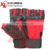 Genuine Leather Weight Lifting Gloves, Black And Red Weight Lifting Gloves, Leather Weight Lifting Fitness Gloves For Workout