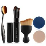 Eye Shadow Brush Set 5 Pcs Eye Makeup Brushes Kit + Foundation Brush + Curved Blush Brush + Air Puffs