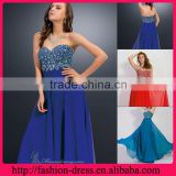 Confortable Sweetheart and Strapless Neckline with Eye-Catching Beaded Bodic and Flowing Empire Waist Long Chiffon Evening Dress