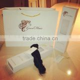 Custom white cardboard hair extension packaging bag and box